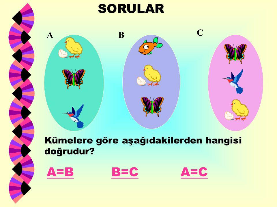 SORULAR C A B Kümelere göre aşağıdakilerden hangisi doğrudur A=B B=C A=C