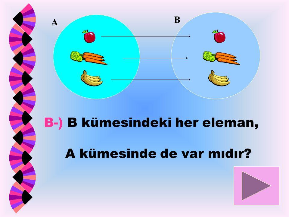 B-) B kümesindeki her eleman, A kümesinde de var mıdır