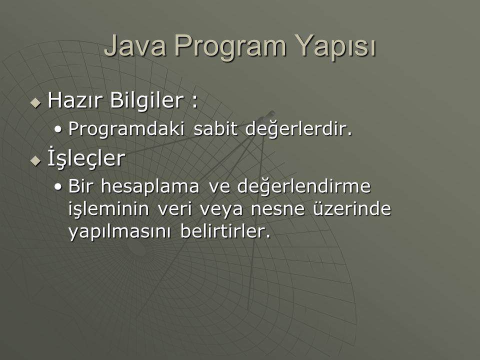 Java Program Yapısı Hazır Bilgiler : İşleçler