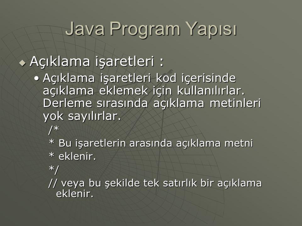 Java Program Yapısı Açıklama işaretleri :