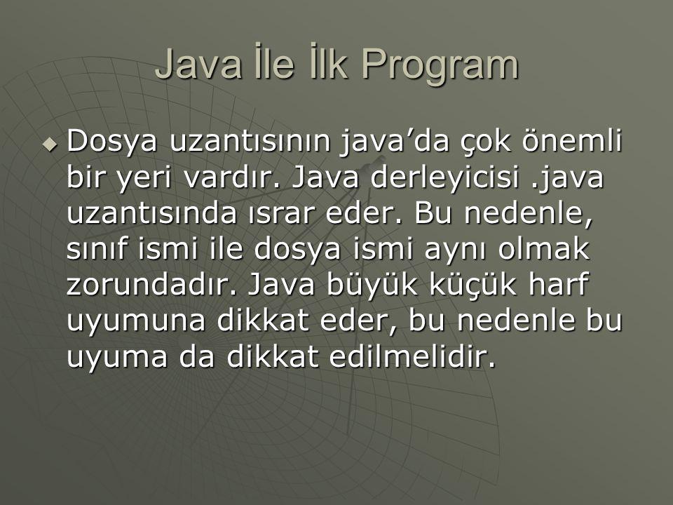 Java İle İlk Program