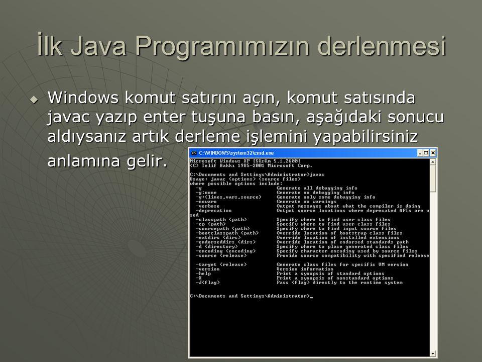 İlk Java Programımızın derlenmesi
