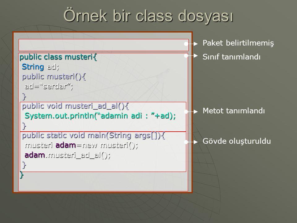 Örnek bir class dosyası
