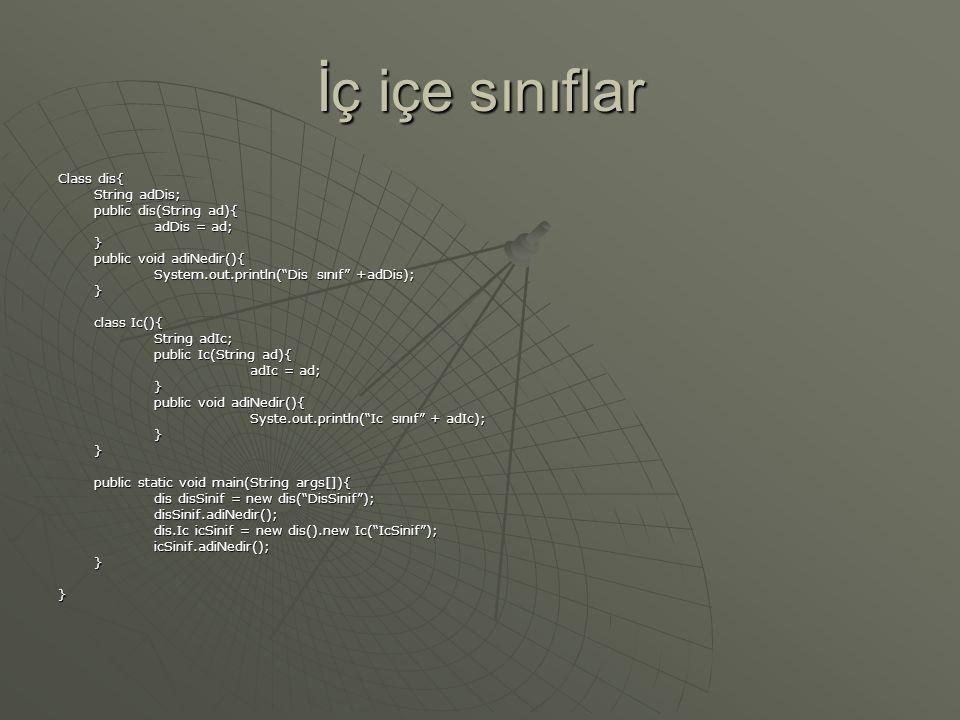 İç içe sınıflar Class dis{ String adDis; public dis(String ad){