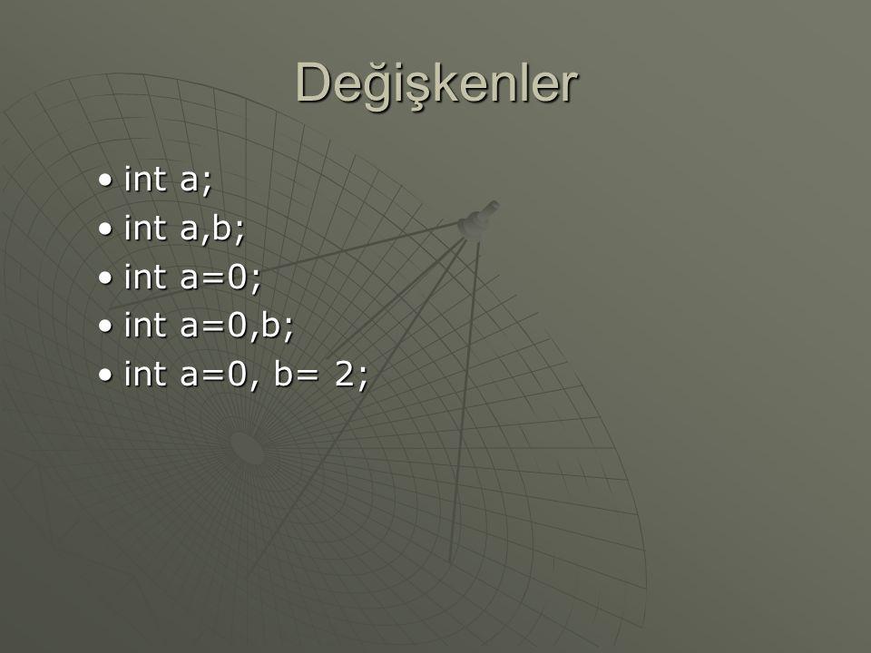 Değişkenler int a; int a,b; int a=0; int a=0,b; int a=0, b= 2;