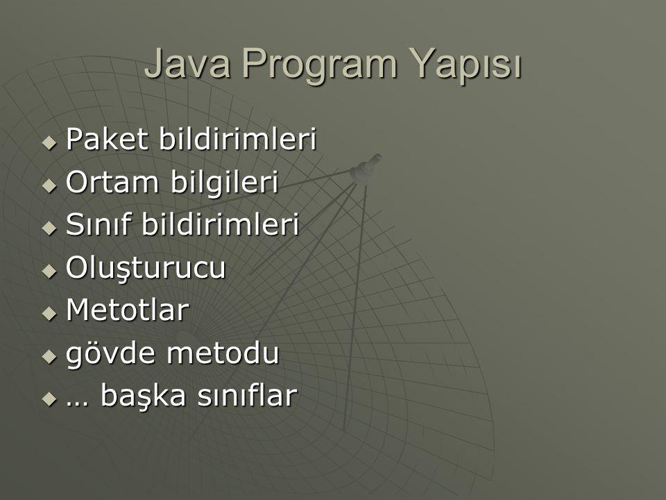 Java Program Yapısı Paket bildirimleri Ortam bilgileri
