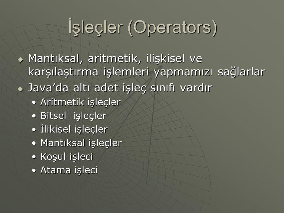 İşleçler (Operators) Mantıksal, aritmetik, ilişkisel ve karşılaştırma işlemleri yapmamızı sağlarlar.