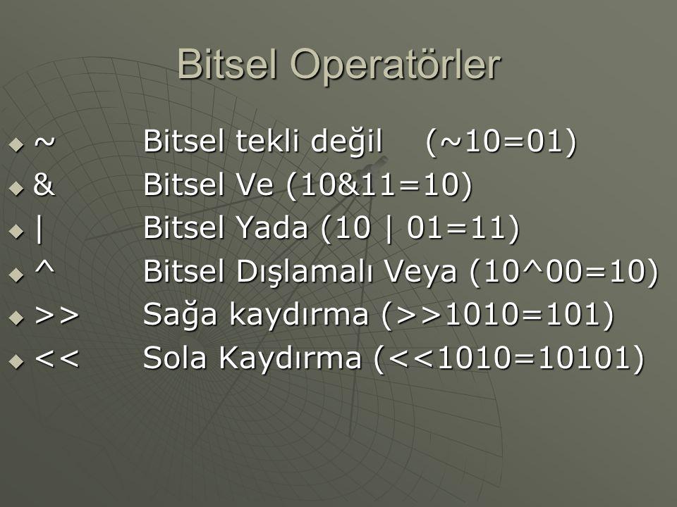 Bitsel Operatörler ~ Bitsel tekli değil (~10=01)