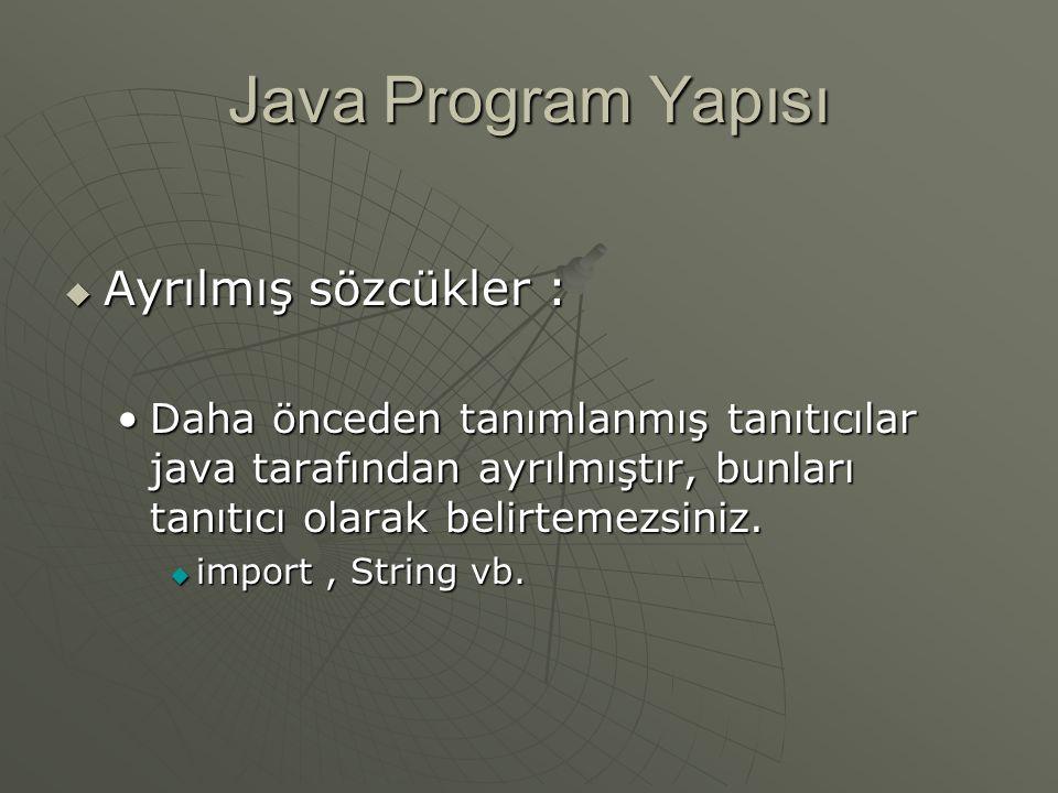 Java Program Yapısı Ayrılmış sözcükler :