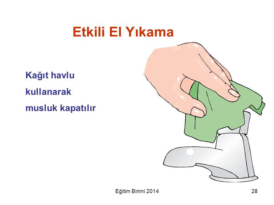 Etkili El Yıkama Kağıt havlu kullanarak musluk kapatılır