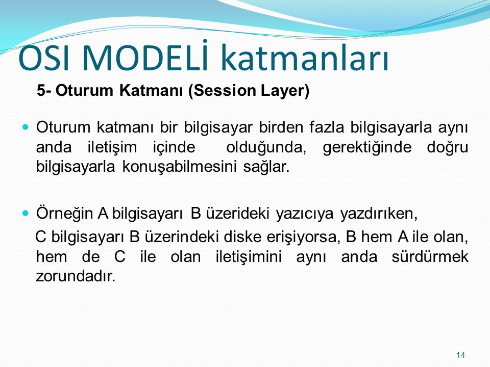 5- Oturum Katmanı (Session Layer)