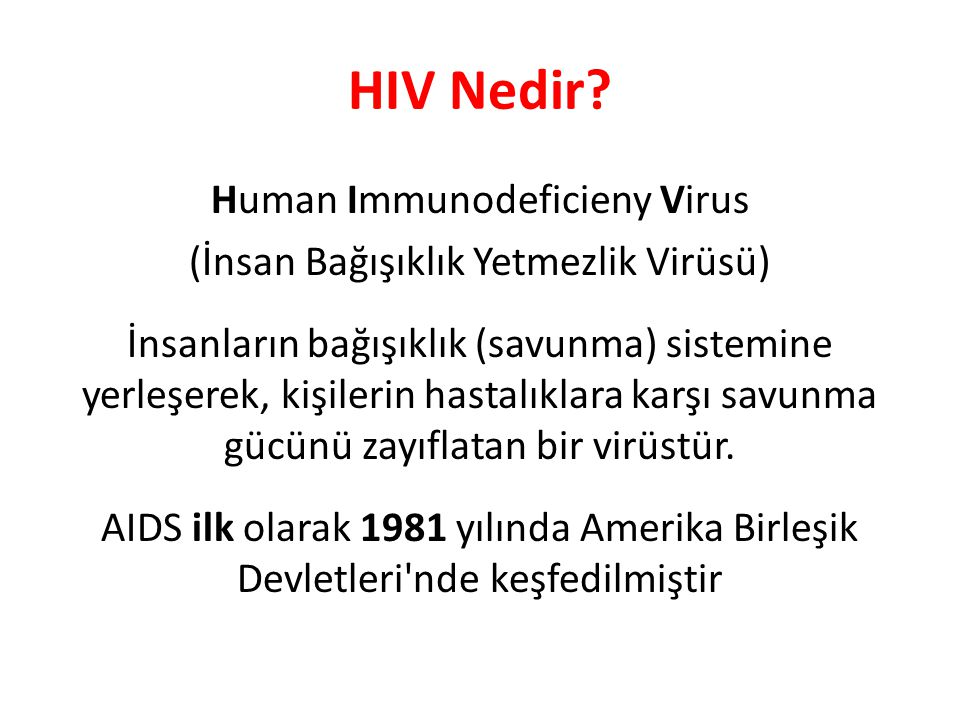 HIV Nedir Human Immunodeficieny Virus