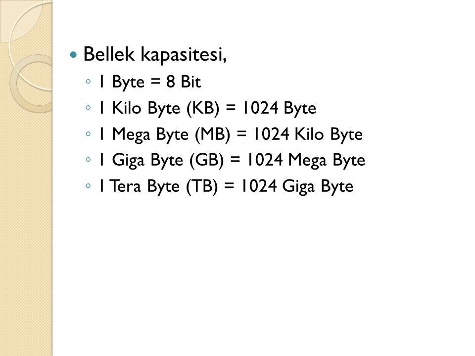 Bellek kapasitesi, 1 Byte = 8 Bit 1 Kilo Byte (KB) = 1024 Byte