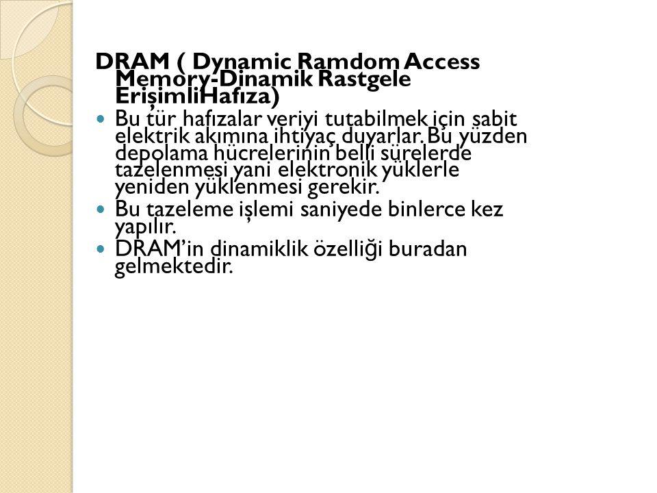 DRAM ( Dynamic Ramdom Access Memory-Dinamik Rastgele ErişimliHafıza)