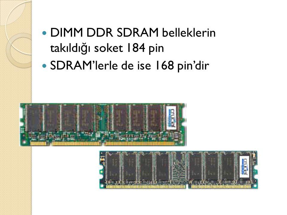 DIMM DDR SDRAM belleklerin takıldığı soket 184 pin