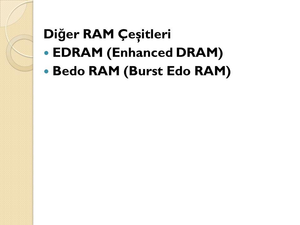 Diğer RAM Çeşitleri EDRAM (Enhanced DRAM) Bedo RAM (Burst Edo RAM)