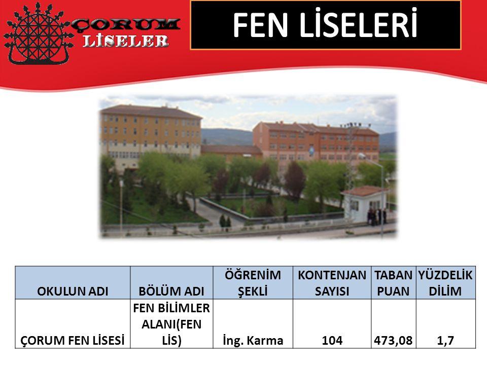 FEN BİLİMLER ALANI(FEN LİS)