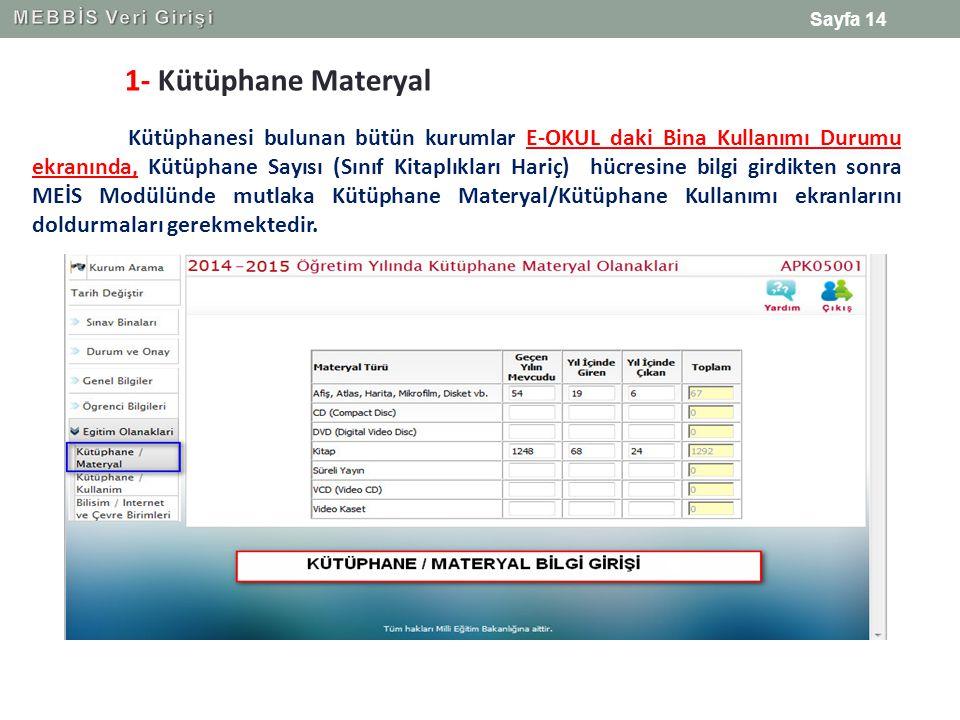 MEBBİS Veri Girişi 1- Kütüphane Materyal.