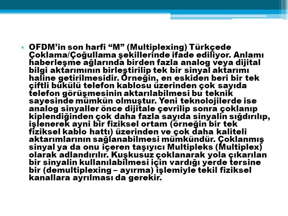 OFDM'in son harfi M (Multiplexing) Türkçede Çoklama/Çoğullama şekillerinde ifade ediliyor.