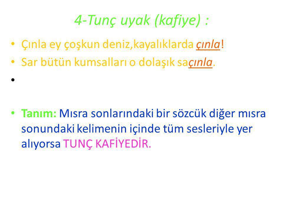 4-Tunç uyak (kafiye) : Çınla ey çoşkun deniz,kayalıklarda çınla!