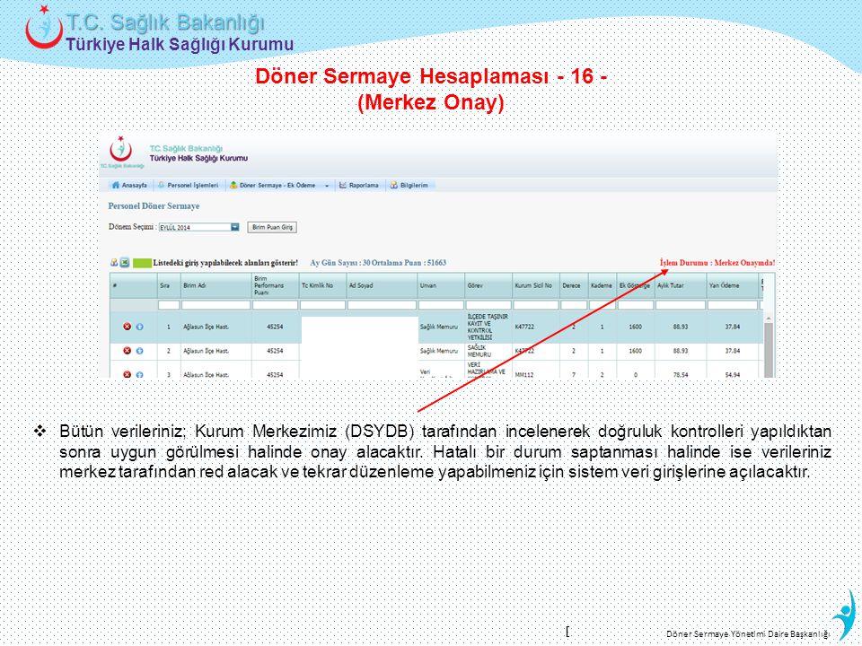 Döner Sermaye Hesaplaması - 16 -