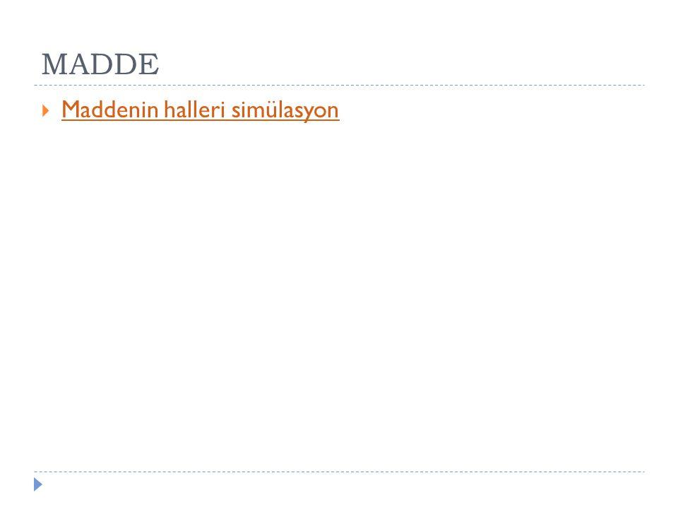 MADDE Maddenin halleri simülasyon