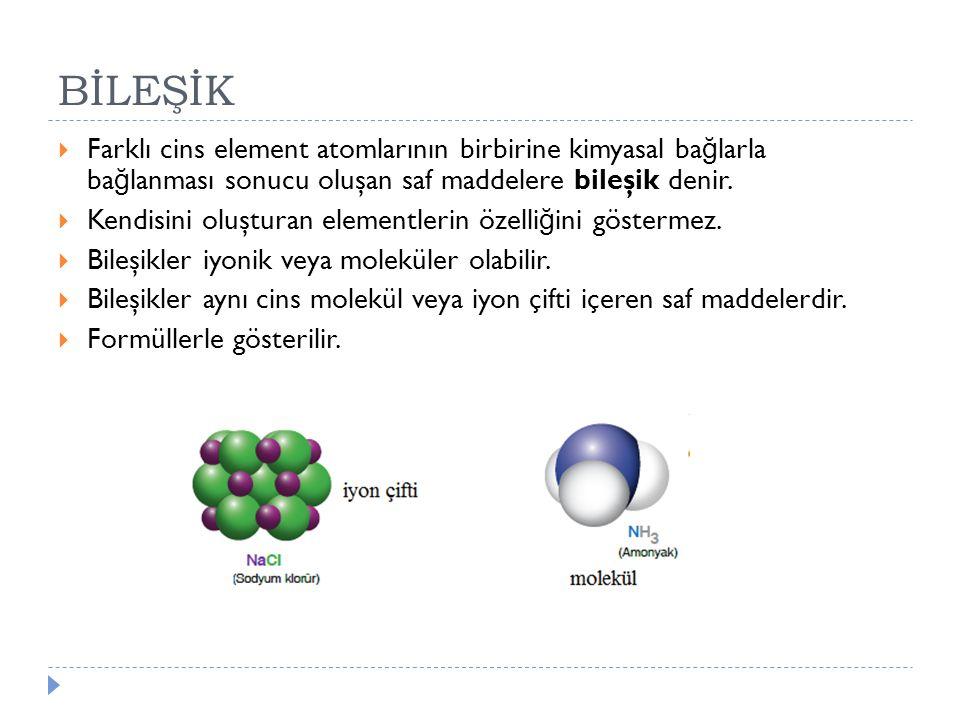 BİLEŞİK Farklı cins element atomlarının birbirine kimyasal bağlarla bağlanması sonucu oluşan saf maddelere bileşik denir.