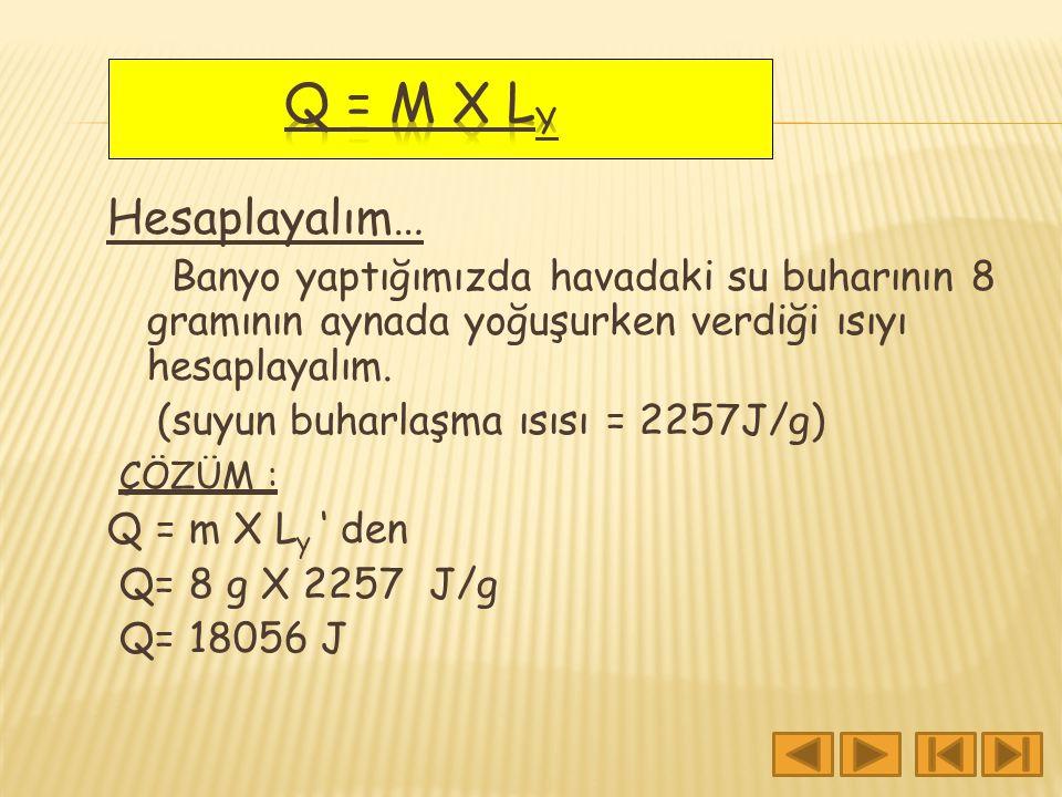 Q = m X Ly Hesaplayalım… Banyo yaptığımızda havadaki su buharının 8 gramının aynada yoğuşurken verdiği ısıyı hesaplayalım.