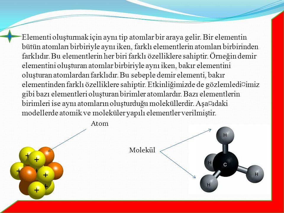 Elementi oluşturmak için aynı tip atomlar bir araya gelir