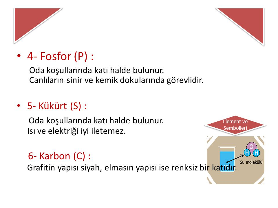 4- Fosfor (P) : 5- Kükürt (S) :
