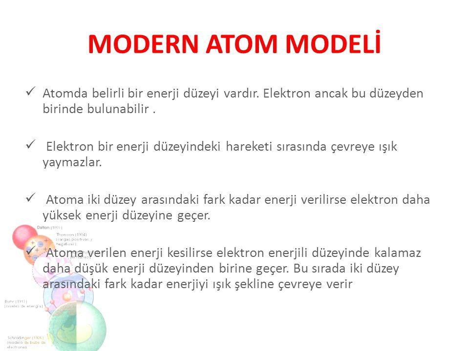 MODERN ATOM MODELİ Atomda belirli bir enerji düzeyi vardır. Elektron ancak bu düzeyden birinde bulunabilir .
