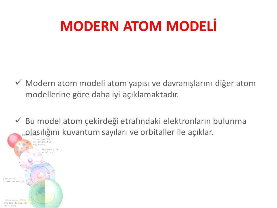 MODERN ATOM MODELİ Modern atom modeli atom yapısı ve davranışlarını diğer atom modellerine göre daha iyi açıklamaktadır.