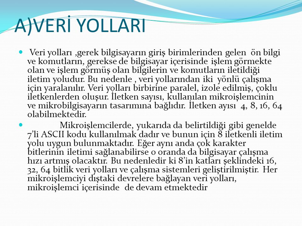 A)VERİ YOLLARI