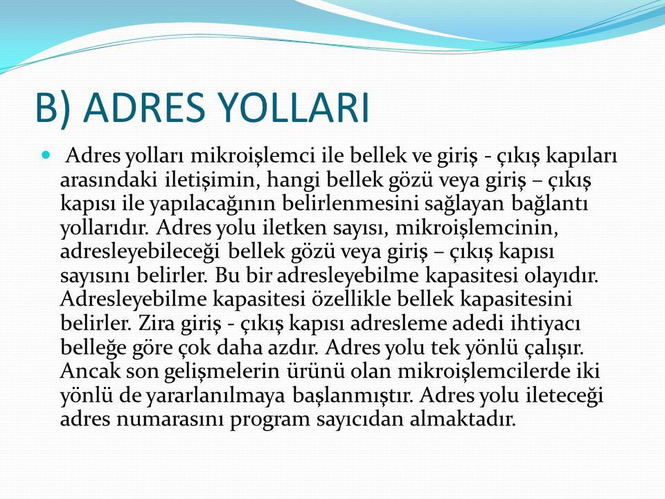 B) ADRES YOLLARI