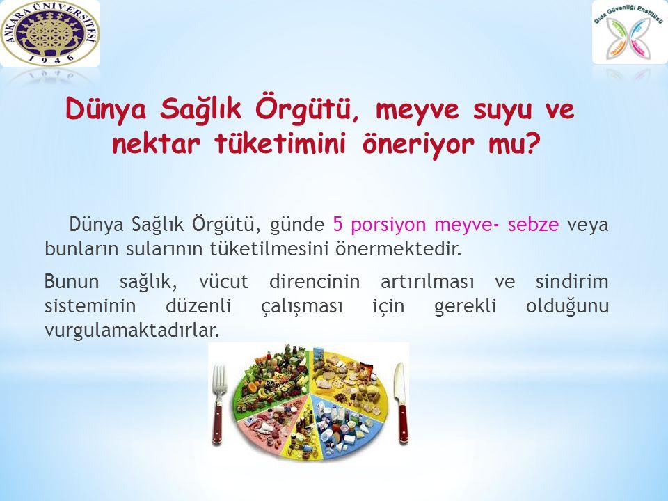 Dünya Sağlık Örgütü, meyve suyu ve nektar tüketimini öneriyor mu