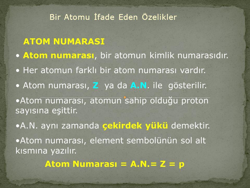 Bir Atomu İfade Eden Özelikler