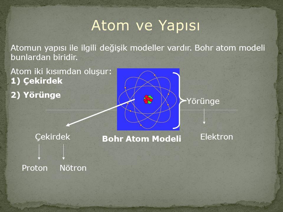 Atom ve Yapısı Atomun yapısı ile ilgili değişik modeller vardır. Bohr atom modeli bunlardan biridir.