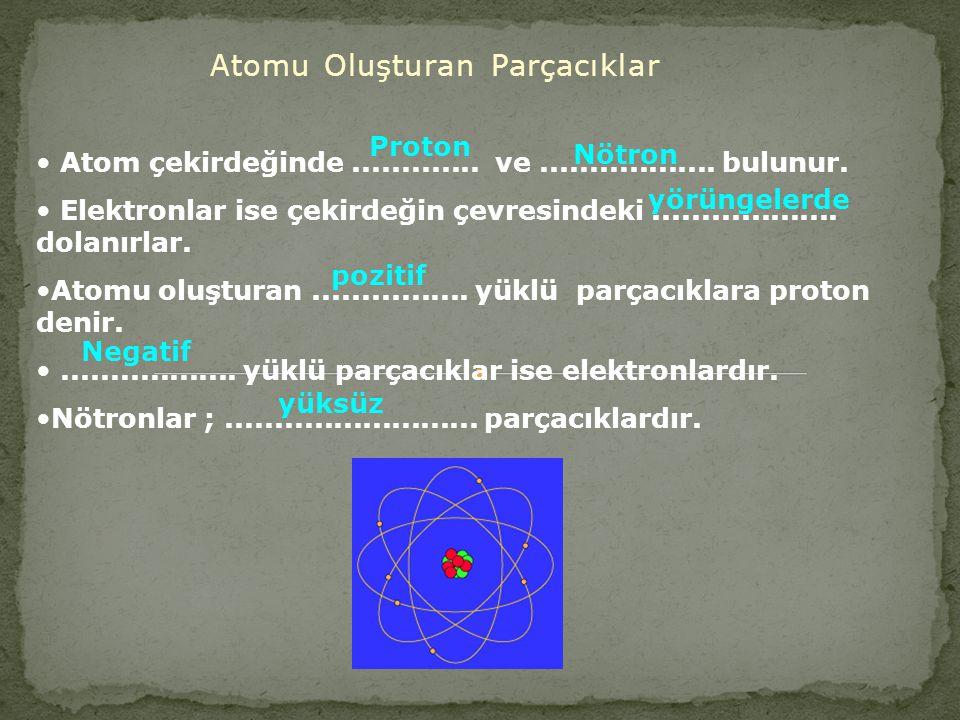 Atomu Oluşturan Parçacıklar