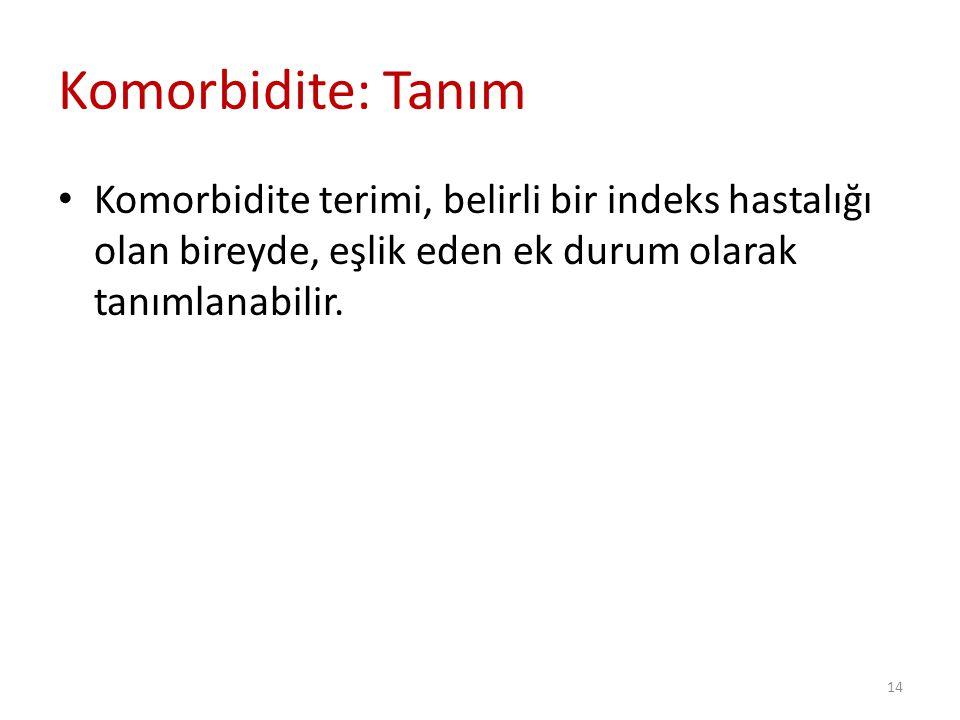 Komorbidite: Tanım Komorbidite terimi, belirli bir indeks hastalığı olan bireyde, eşlik eden ek durum olarak tanımlanabilir.