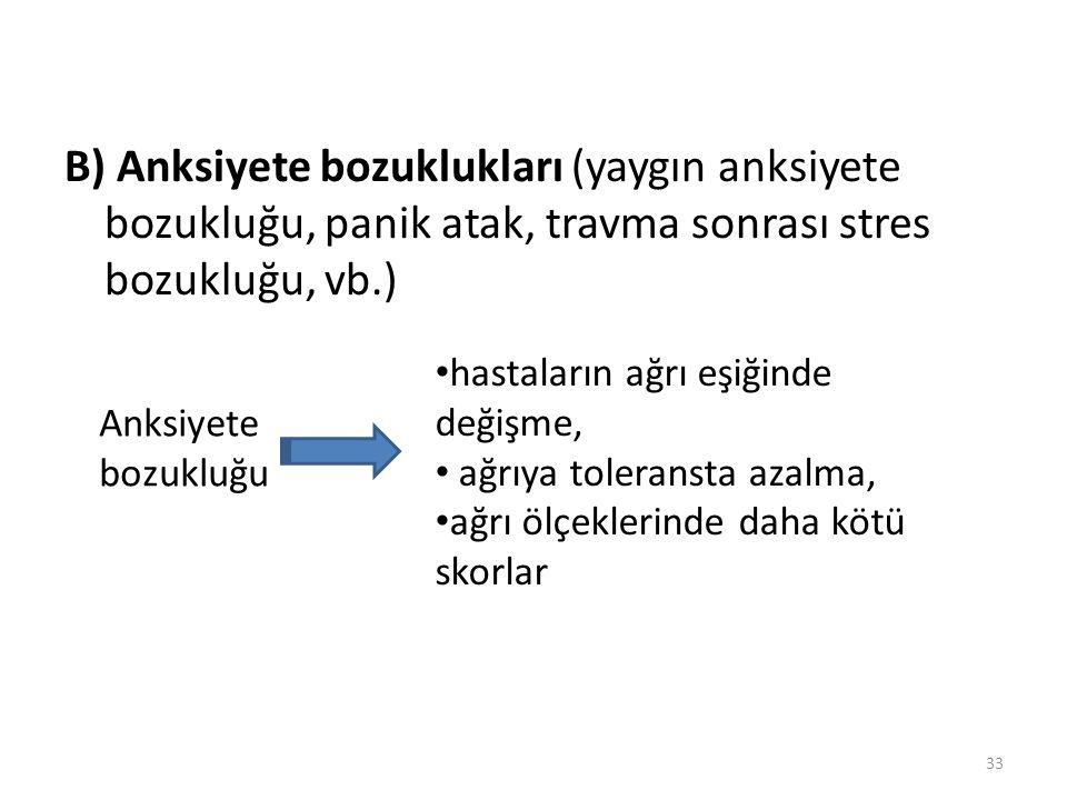 B) Anksiyete bozuklukları (yaygın anksiyete bozukluğu, panik atak, travma sonrası stres bozukluğu, vb.)