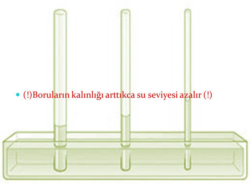 (!)Boruların kalınlığı arttıkca su seviyesi azalır (!)