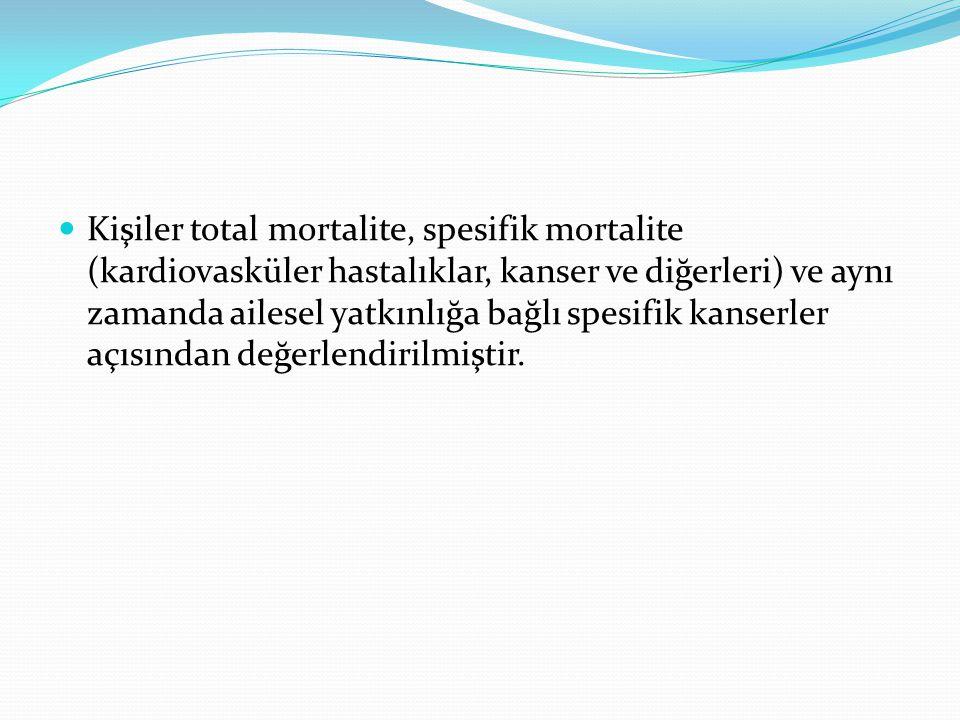 Kişiler total mortalite, spesifik mortalite (kardiovasküler hastalıklar, kanser ve diğerleri) ve aynı zamanda ailesel yatkınlığa bağlı spesifik kanserler açısından değerlendirilmiştir.