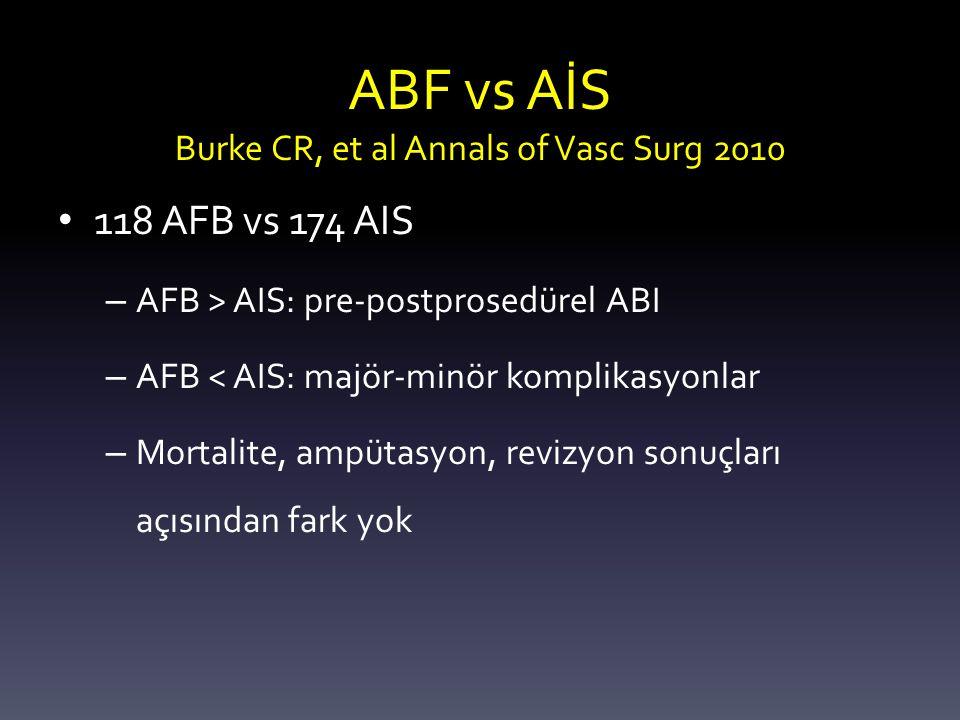 ABF vs AİS Burke CR, et al Annals of Vasc Surg 2010