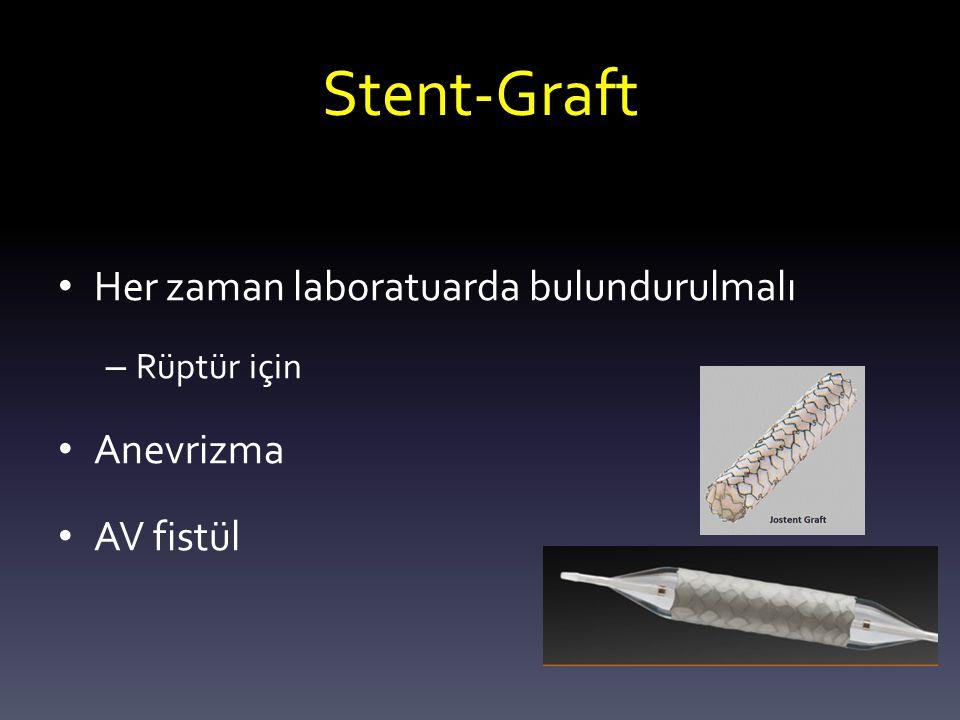 Stent-Graft Her zaman laboratuarda bulundurulmalı Anevrizma AV fistül