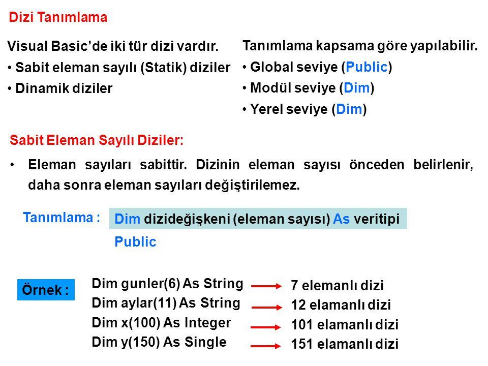 Dizi Tanımlama Visual Basic'de iki tür dizi vardır. Sabit eleman sayılı (Statik) diziler. Dinamik diziler.
