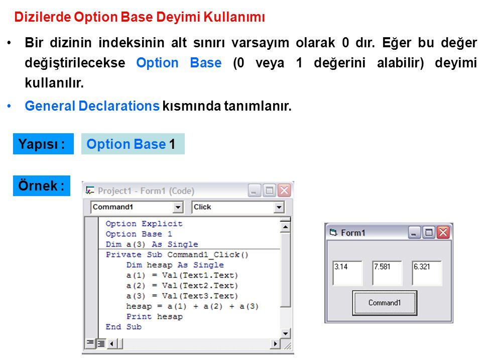 Dizilerde Option Base Deyimi Kullanımı