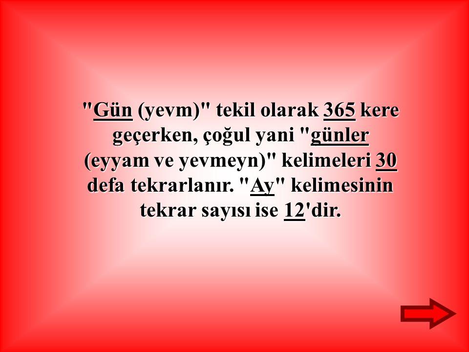 Gün (yevm) tekil olarak 365 kere geçerken, çoğul yani günler (eyyam ve yevmeyn) kelimeleri 30 defa tekrarlanır.