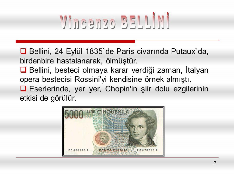 Vincenzo BELLİNİ Bellini, 24 Eylül 1835`de Paris civarında Putaux`da, birdenbire hastalanarak, ölmüştür.