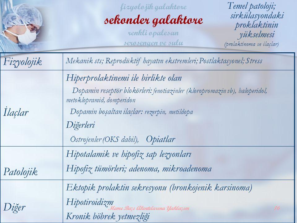 sekonder galaktore Fizyolojik İlaçlar Patolojik Diğer