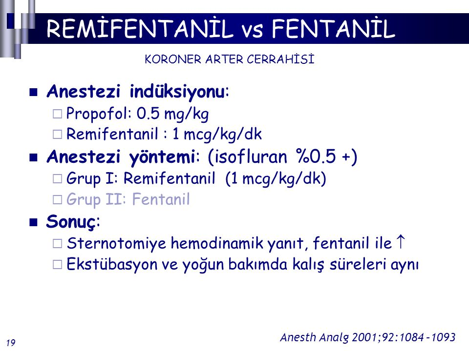 REMİFENTANİL vs FENTANİL